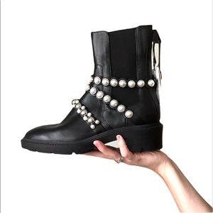 New ZARA Faux Pearl Strap Black Leather Ankle Combat Boot Sz 7.5 US / 38 EU